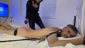 British brunette finds pleasure in domination whip in HD