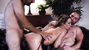Raw threesome in the company of Aiden Ashley