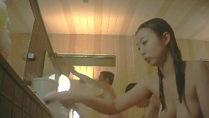 Voyeur asian in shower