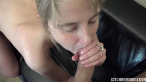 Czech blonde haired likes orgy in HD