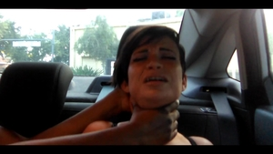 Large tits babe crazy orgasm in a car