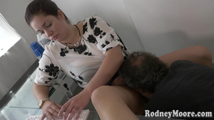 Hairy erotic american BBW femdom in office