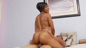 Hot ebony MILF interracial fuck on the couch