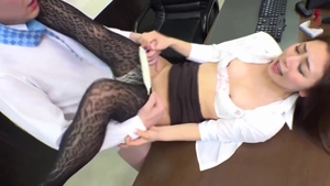 Gets a good fucking in office next to sexy brunette