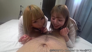 Sexy and glamour chick double blowjob
