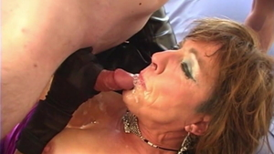 Busty granny goes for creampie in HD
