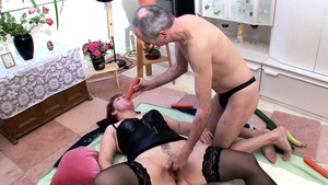 Threesome german in tight stockings in HD