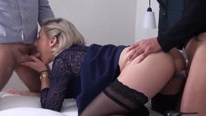 Threesome together with mature Julie Holly in HD