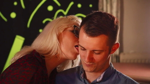 European blonde haired cock sucking in cafe