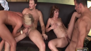 Raw foursome accompanied by large tits babe