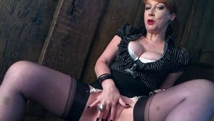 Solo wet and large boobs MILF in tight stockings fingering