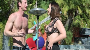 Rough group sex among big butt babe Ivy Lebelle in the pool