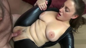 Sucking dick sex tape escorted by large tits cosplay Black Cat